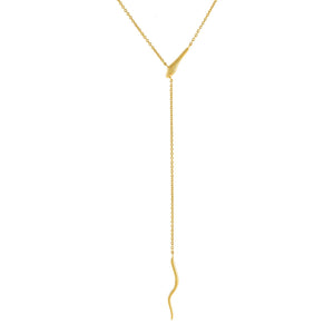 Gold Solid Snake Chain Lariat - Adina's Jewels