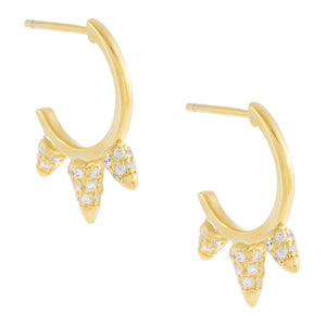 Pavé Triple Spike Hoop Earring Gold - Adina's Jewels
