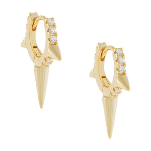 CZ Triple Spike Huggie Earring Gold - Adina's Jewels