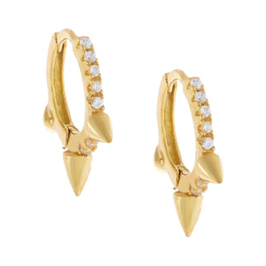 Pavé Triple Spike Huggie Earring Gold - Adina's Jewels