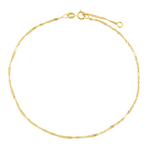 14K Gold Thin Bars X Singapore Anklet 14K - Adina's Jewels