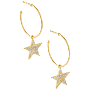 Gold Pavé Star Charm Hoop Earring - Adina's Jewels