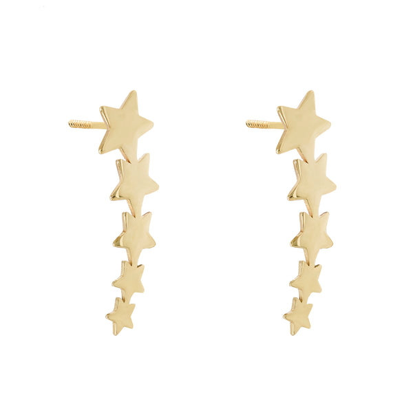 14K Gold / Pair Multi Star Ear Climber Stud Earring 14K - Adina's Jewels