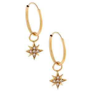 14K Gold CZ Starburst Hoop Earring 14K - Adina's Jewels