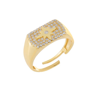 Pavé Starburst Ring Gold - Adina's Jewels