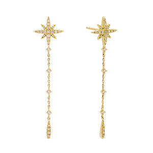 14K Gold Diamond Starburst Drop Stud Earring 14K - Adina's Jewels