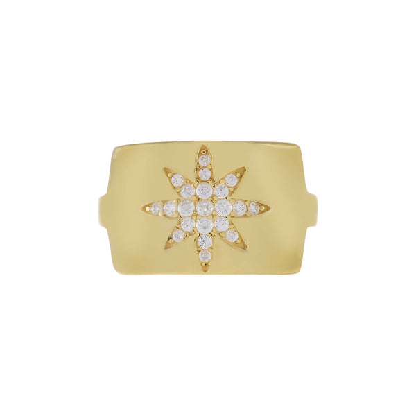 Chunky Pavé Starburst Adjustable Ring  - Adina's Jewels