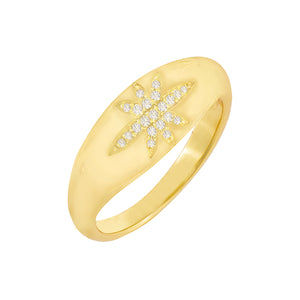 Gold / 6 CZ Starburst Dome Ring - Adina's Jewels