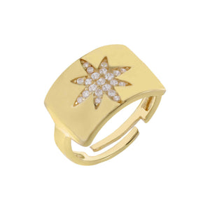 Chunky Pavé Starburst Adjustable Ring Gold - Adina's Jewels