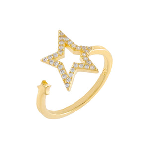 Pavé Open Star Wrap Ring Gold - Adina's Jewels