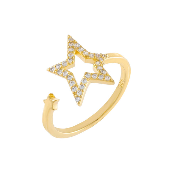 Gold Pavé Open Star Wrap Ring - Adina's Jewels