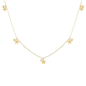 Mini Dangling Stars Necklace 14K - Adina's Jewels