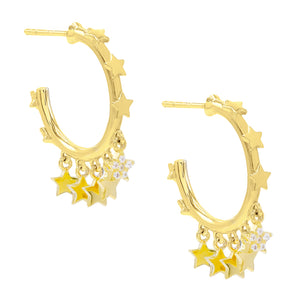 Multi Star Dangling Hoop Earring Gold - Adina's Jewels