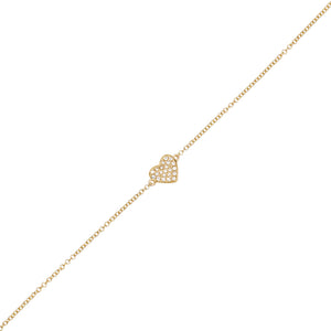 14K Gold Diamond Heart Bracelet 14K - Adina's Jewels