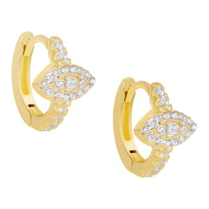 CZ Evil Eye Huggie Earring Gold - Adina's Jewels