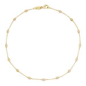 14K Gold Moon Cut Chain Anklet 14K - Adina's Jewels