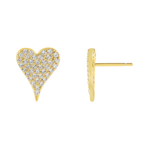 Gold Pavé Medium Heart Stud Earring - Adina's Jewels