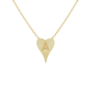 Gold / A Initial Heart Link Necklace - Adina's Jewels