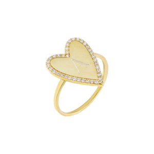 Gold / 6 Engraved Pavé X Solid Heart Ring - Adina's Jewels