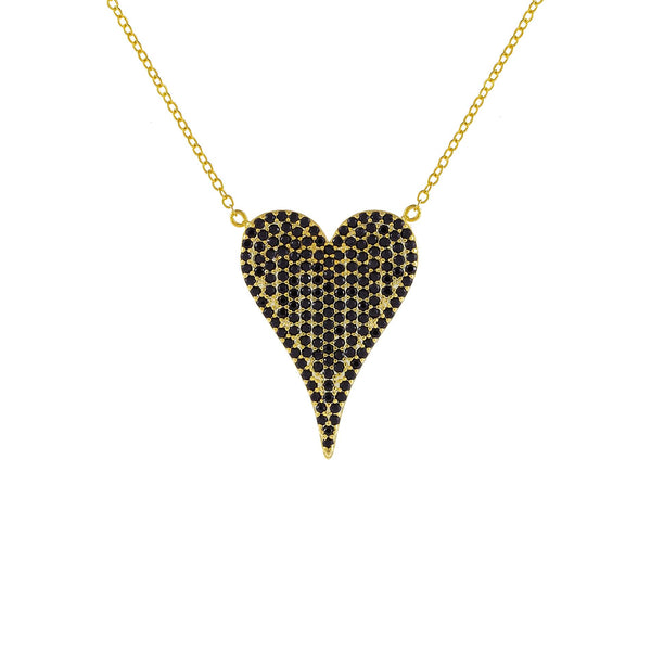 Onyx Pavé Large Onyx Heart Necklace - Adina's Jewels
