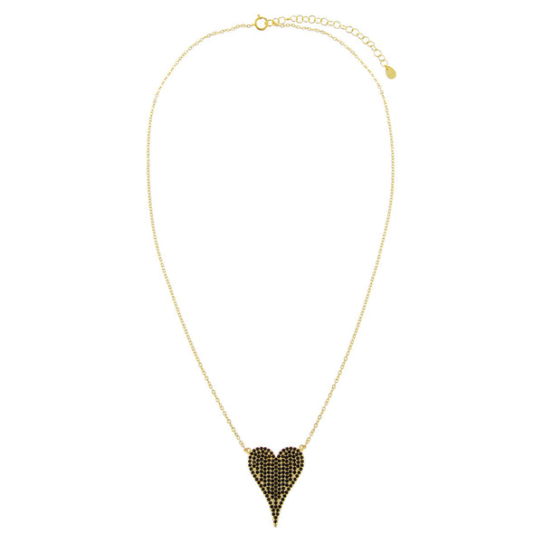Pavé Large Onyx Heart Necklace - Adina's Jewels