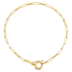 Gold Toggle Oval Link Anklet - Adina's Jewels