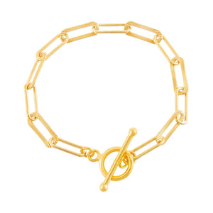 Gold Ridged X Solid Link Toggle Bracelet - Adina's Jewels