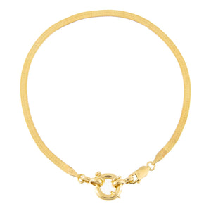 Gold Toggle Herringbone Anklet - Adina's Jewels