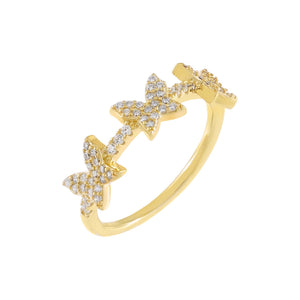 Gold / 5 Pavé Triple Butterfly Ring - Adina's Jewels