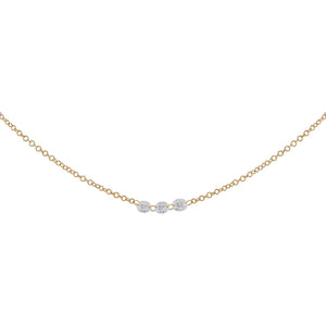 Floating Triple Diamond Necklace 14K 14K Gold - Adina's Jewels