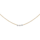14K Gold Floating Triple Diamond Necklace 14K - Adina's Jewels