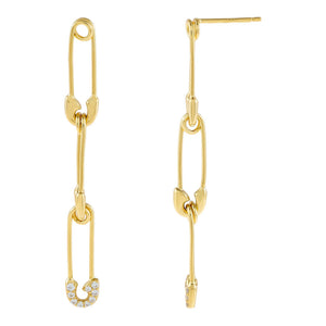 Gold Pavé X Solid Safety Pin Drop Stud Earring - Adina's Jewels