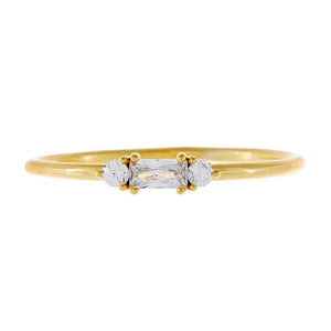 Gold / 6 CZ Baguette Dainty Ring - Adina's Jewels