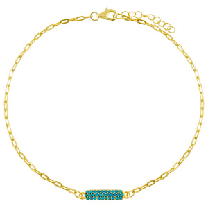 Pavé Turquoise Bar Link Anklet Turquoise - Adina's Jewels