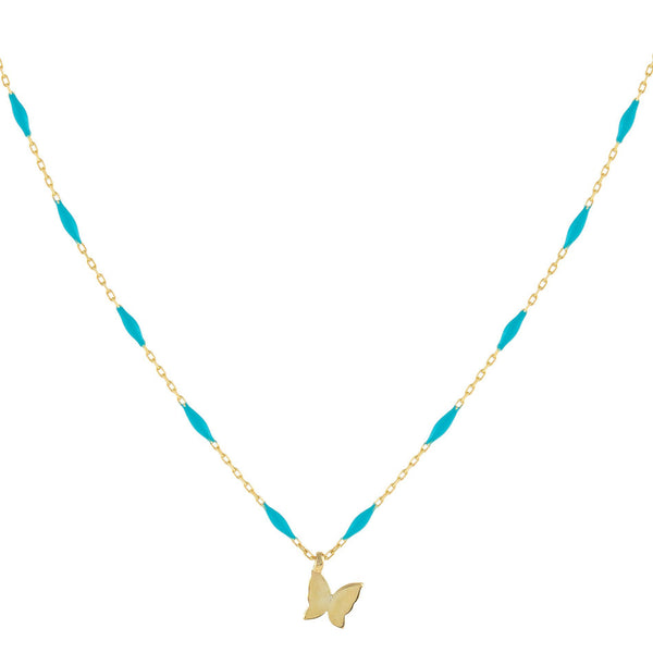 Turquoise Butterfly X Enamel Chain Necklace - Adina's Jewels