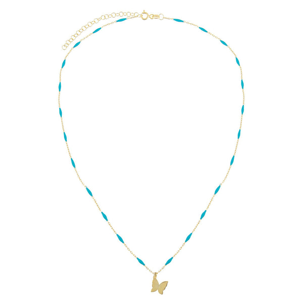 Butterfly X Enamel Chain Necklace - Adina's Jewels