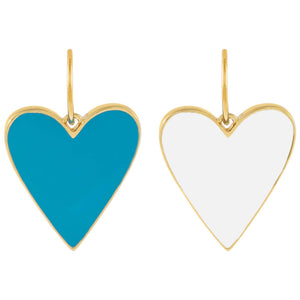 Double Sided Enamel Turquoise X White Heart Charm Turquoise - Adina's Jewels