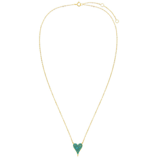 Turquoise CZ Heart Necklace  - Adina's Jewels