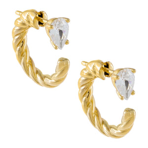Gold CZ Teardrop Rope Hoop Earring - Adina's Jewels
