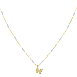 Butterfly X Enamel Chain Necklace White - Adina's Jewels