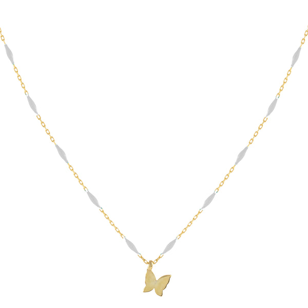 White Butterfly X Enamel Chain Necklace - Adina's Jewels