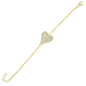 Gold Pavé Large Heart Bracelet - Adina's Jewels