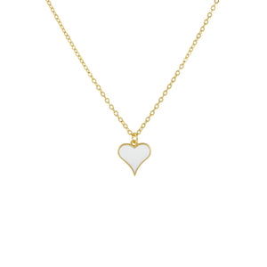 Small Enamel Heart Necklace White - Adina's Jewels