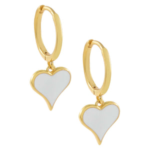 White Enamel Heart Huggie Earring - Adina's Jewels