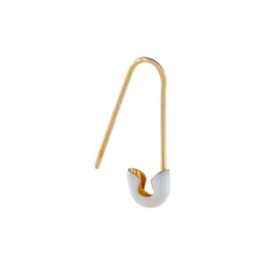 White Enamel Safety Pin Earring 14K - Adina's Jewels