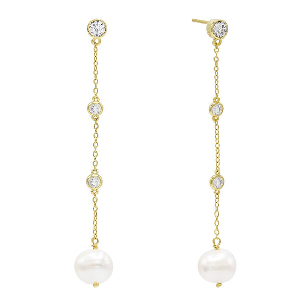 Pearl White Pearl Bezel Drop Stud Earring - Adina's Jewels
