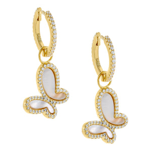 Mother of Pearl Butterfly Huggie Earring Pearl White - Adina's Jewels