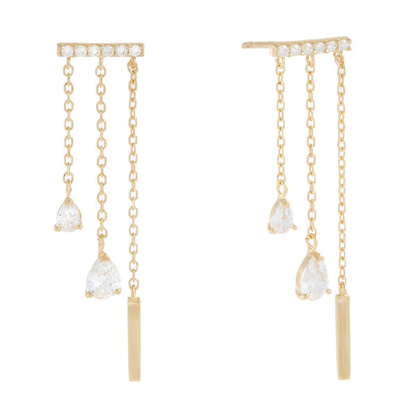 14K Gold / Pair Dangling Teardrop CZ Stud Earring 14K - Adina's Jewels