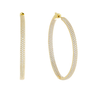 Large Pavé Hoop Earring Gold / 50 MM - Adina's Jewels