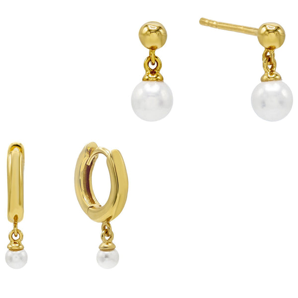 Dangling Pearl Earring Combo Set
